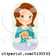 Clipart Of A Happy White Woman Transfering A Boxed Product To A Jar Royalty Free Vector Illustration