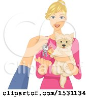 Clipart Of A Pet Sitter Holding A Dog And Receiving Keys Royalty Free Vector Illustration
