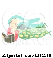 Clipart Of A Woman Daydreaming Of A Meadow While Reading A Book Royalty Free Vector Illustration