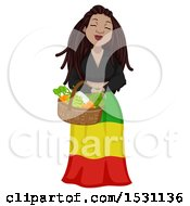 Clipart Of A Rastafarian Woman Carrying A Basket Of Produce Royalty Free Vector Illustration