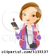 Clipart Of A White Woman Tourist Holding A Cell Phone With A Map Royalty Free Vector Illustration