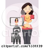 Happy Woman Hugging Her Cat In Front Of A Cell Phone Camera