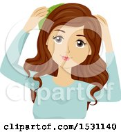 Clipart Of A Young Woman Applying Aloe Vera To Her Hair Royalty Free Vector Illustration