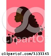 Clipart Of A Black Woman In Profile With Long Hair And Bubbles On Pink Royalty Free Vector Illustration