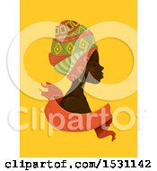 Clipart Of A Beautiful African Woman In Profile Wearing Head Scarves Over A Ribbon On Yellow Royalty Free Vector Illustration