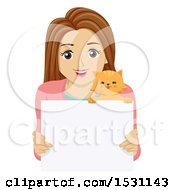 Teen Girl And Cat Over A Blank Sign