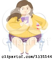 Clipart Of A Happy Chubby Woman Holding A Soda And Reading A Book Royalty Free Vector Illustration