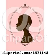 Clipart Of A Profiled Black Woman With Short Hair In A Frame Over Pink Royalty Free Vector Illustration