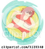 Clipart Of A Chubby Woman In A Bikini Floating In An Inner Tube Royalty Free Vector Illustration