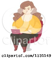 Clipart Of A Happy Chubby Woman Using A Laptop Royalty Free Vector Illustration