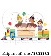 Poster, Art Print Of Group Of Children Riding A Birthday Train