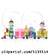 Clipart Of A Group Of Children Riding A Birthday Gift Train Royalty Free Vector Illustration
