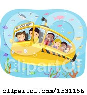 Clipart Of A Submarine School Bus With Children Observing Fish Underwater Royalty Free Vector Illustration