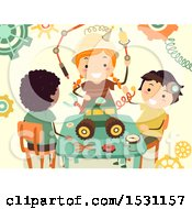 Clipart Of A Group Of Children Building A Steampunk Project Royalty Free Vector Illustration