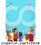 Clipart Of A Group Of People Watching Fish At An Aquarium Royalty Free Vector Illustration