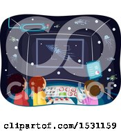 Clipart Of A Group Of Children In A Submarine Observing Deep Sea Animals With Bioluminescence Royalty Free Vector Illustration