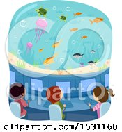 Clipart Of A Group Of Children Observing Fish From A Submarine Royalty Free Vector Illustration