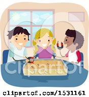 Clipart Of A Group Of Children Using Magnets To Pick Screws Out Of A Bin Royalty Free Vector Illustration