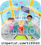 Clipart Of A Group Of Children Watching Fish In A Submarine Royalty Free Vector Illustration