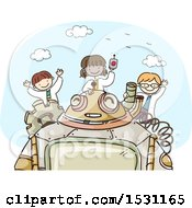 Clipart Of A Sketched Group Of Children Scientists With A Robot Royalty Free Vector Illustration