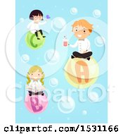 Clipart Of A Group Of Children Scientists Floating On Bubbles Royalty Free Vector Illustration