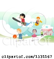 Poster, Art Print Of Group Of Children Flying And Playing In A School Yard