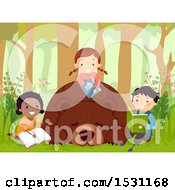 Clipart Of A Group Of Children Reading Books Around A Hibernating Bear Royalty Free Vector Illustration by BNP Design Studio