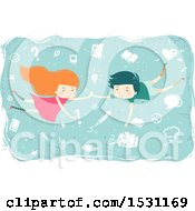 Clipart Of A Boy And Girl Floating With School Icons Royalty Free Vector Illustration