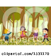 Clipart Of A Group Of Children Playing In The Forest Royalty Free Vector Illustration by BNP Design Studio