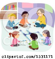 Clipart Of A Group Of Children And Teacher Pipe Building Royalty Free Vector Illustration by BNP Design Studio