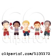 Clipart Of A Group Of Children Ready For Muay Thai Royalty Free Vector Illustration