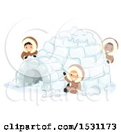 Clipart Of A Group Of Eskimo Children Making An Igloo Royalty Free Vector Illustration