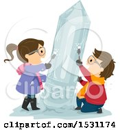 Clipart Of A Boy And Girl Chiseling A Pencil Ice Sculpture Royalty Free Vector Illustration by BNP Design Studio