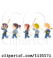 Clipart Of A Group Of Kendo Children Walking In Line Royalty Free Vector Illustration