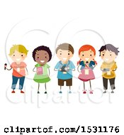 Clipart Of A Group Of Children Journalists With A Microphone Note Book And Camera Royalty Free Vector Illustration