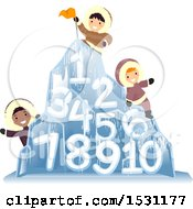 Group Of Eskimo Children On An Ice Mountain With Numbers