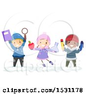Clipart Of A Group Of Children Holding School Items In The Snow Royalty Free Vector Illustration