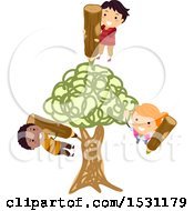 Clipart Of A Group Of Children Drawing A Tree Royalty Free Vector Illustration