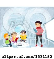 Group Of Children And A Teacher Reading In An Igloo