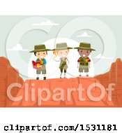 Clipart Of A Group Of Children Exploring A Canyon Royalty Free Vector Illustration by BNP Design Studio