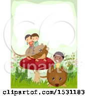 Clipart Of A Group Of Children Riding Bank Voles In The Woodlands Royalty Free Vector Illustration
