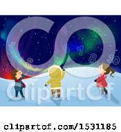 Clipart Of A Group Of Children Looking At Numbers In A Night Sky With Northern Lights Royalty Free Vector Illustration by BNP Design Studio