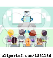 Poster, Art Print Of Group Of Children In Class With A Robot Teacher Holding A Tablet