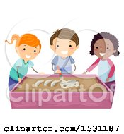 Poster, Art Print Of Group Of Children Brushing A Dinosaur Fossil At A Sensory Table