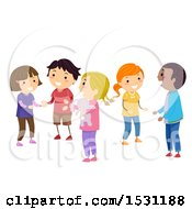 Clipart Of A Group Of Children Socializing In Class Royalty Free Vector Illustration
