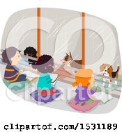 Clipart Of A Group Of Children Reading Books To Dogs In A Shelter Royalty Free Vector Illustration