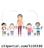 February 22nd, 2018: Clipart Of A Group Of Children And Teacher Holding Paint Brushes And Buckets Royalty Free Vector Illustration by BNP Design Studio