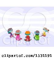 Group Of Children Sitting And Wearing Vitual Reality Glasses
