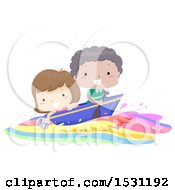 Clipart Of A Boy And Girl Riding A Colorful Wave With A Boat Royalty Free Vector Illustration