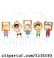 Group Of Children Holding Wood Frames In Geometric Shapes